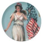 Señora Liberty del vintage Platos De Comidas