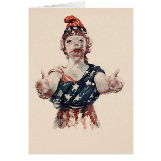 Señora Liberty del zombi Tarjeton