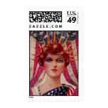 Señora Liberty el 4 de julio de la bandera del Sello