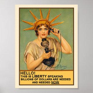 Señora Liberty en el teléfono Póster