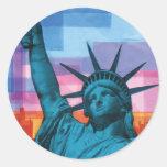 Señora Liberty Etiquetas Redondas