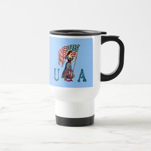 Señora Liberty Illustration del vintage en las cam Tazas De Café