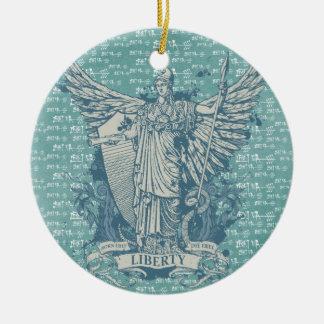 Señora Liberty Libertas Ornament Adorno Redondo De Cerámica