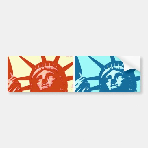 Señora Liberty New York City del arte pop Etiqueta De Parachoque