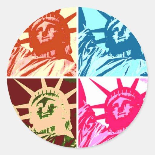 Señora Liberty New York City del arte pop Pegatina Redonda