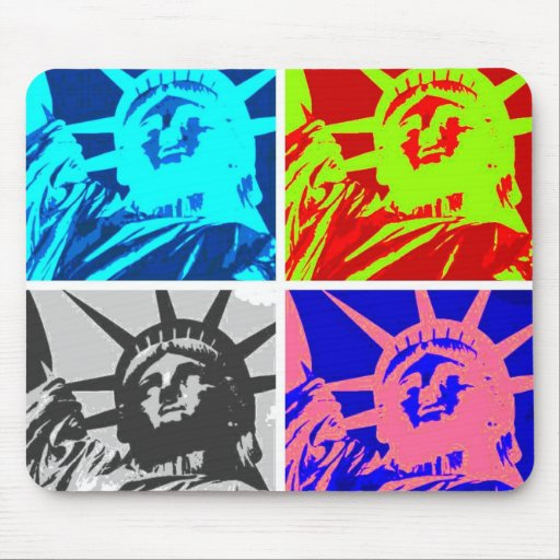 Señora Liberty New York City del arte pop Tapetes De Raton