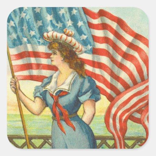 Señora Liberty Pegatina Cuadrada