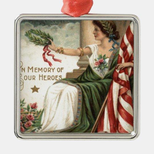 Señora Liberty Rose Soldiers de la bandera de los Adorno Navideño Cuadrado De Metal