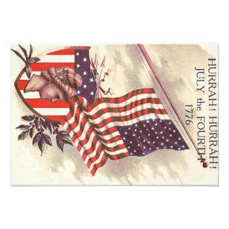 Señora Liberty Shield de la bandera americana Fotografías