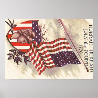 Señora Liberty Shield de la bandera americana Póster