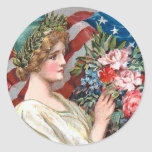 Señora Liberty_Sticker del vintage Pegatina Redonda