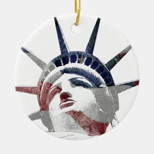 Señora Liberty Template Adorno Navideño Redondo De Cerámica