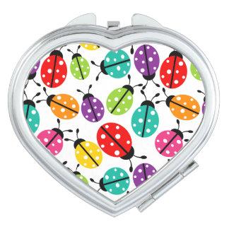 Señora linda colorida Bug Seamless Pattern Espejos Para El Bolso