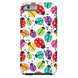 Señora linda colorida Bug Seamless Pattern Funda De iPhone 6 Tough
