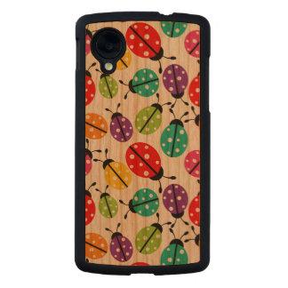 Señora linda colorida Bug Seamless Pattern Funda De Nexus 5 Carved® Slim De Cerezo