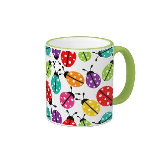 Señora linda colorida Bug Seamless Pattern Taza De Dos Colores