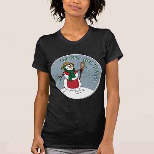 Señora linda Snowman Round Design Camiseta