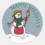 Señora linda Snowman Round Design Pegatina Redonda
