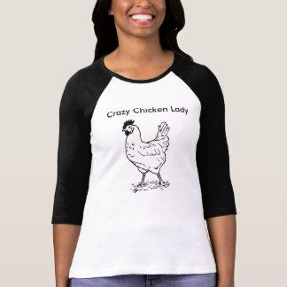 Señora loca 3/4 camisa con mangas del pollo