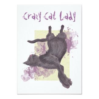 Señora loca Birthday Invites del gato Comunicado