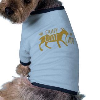 Señora loca de la cabra camiseta con mangas para perro
