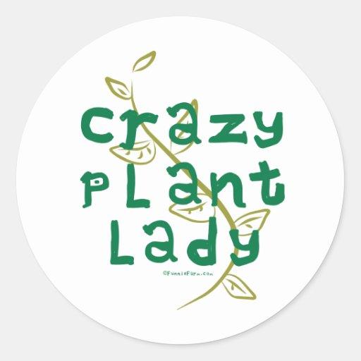Señora loca de la planta pegatina redonda