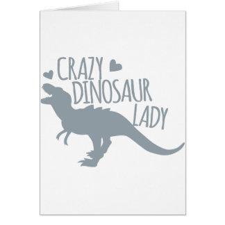 Señora loca del dinosaurio tarjeta de felicitación