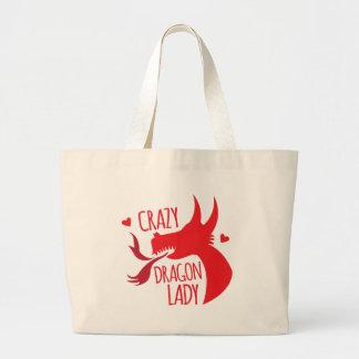 Señora loca del dragón bolsa de tela grande