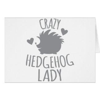 Señora loca del erizo tarjeta de felicitación