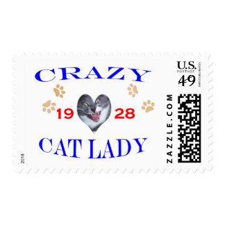 Señora loca del gato 1928 sello