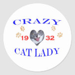 Señora loca del gato 1932 etiquetas redondas
