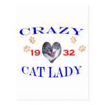 Señora loca del gato 1932 tarjetas postales