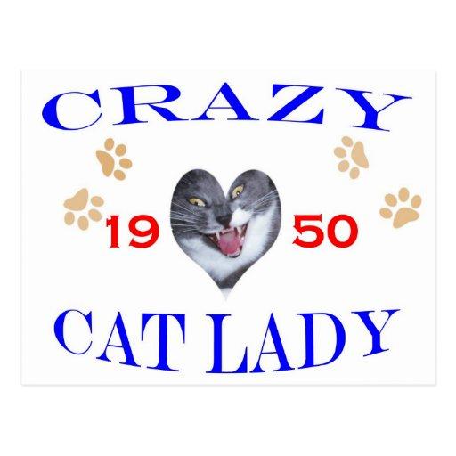 Señora loca del gato 1950 postal