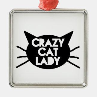 Señora loca del gato adorno navideño cuadrado de metal
