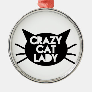 Señora loca del gato adorno navideño redondo de metal