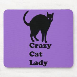 Señora loca del gato alfombrillas de ratón
