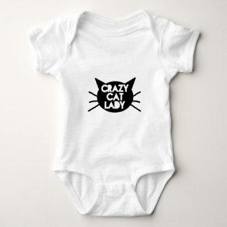 Señora loca del gato body para bebé