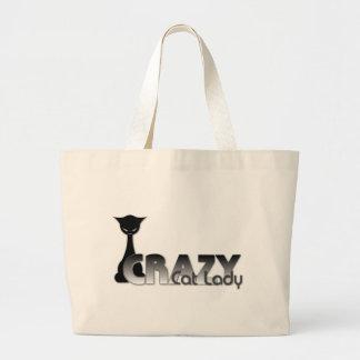 Señora loca del gato bolsa tela grande