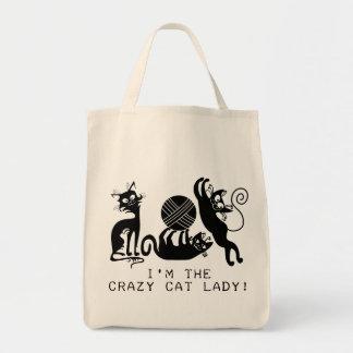 Señora loca del gato bolsa tela para la compra