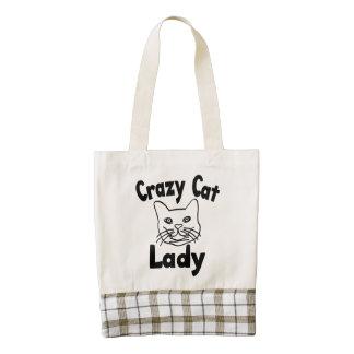 Señora loca del gato bolsa tote zazzle HEART