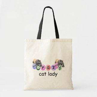Señora loca del gato bolsa lienzo