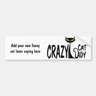 Señora loca del gato pegatina para auto