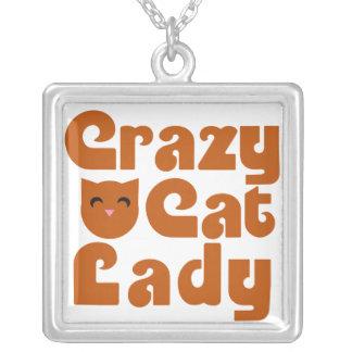 Señora loca del gato collares personalizados