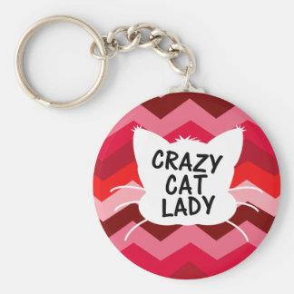 Señora loca del gato con el modelo loco de Chevron Llavero Redondo Tipo Pin