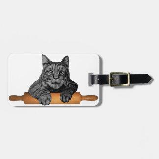 Señora loca del gato de los regalos del gato del etiquetas para equipaje