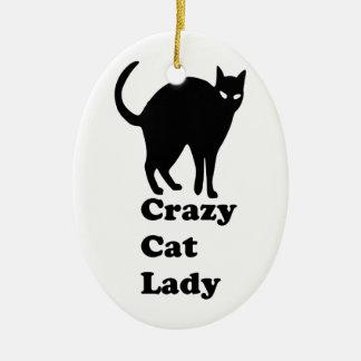 Señora loca del gato adorno para reyes