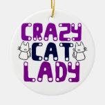 Señora loca del gato ornaments para arbol de navidad