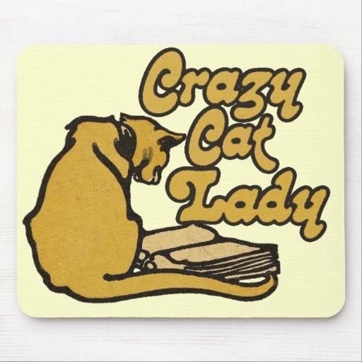 Señora loca del gato del vintage tapetes de raton