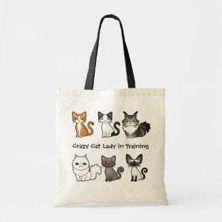 Señora loca del gato en el entrenamiento (diseñe bolsa tela barata