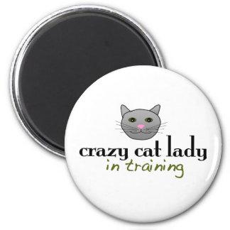Señora loca del gato en el entrenamiento iman para frigorífico